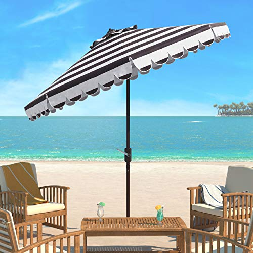(Safavieh PAT8011D Outdoor Collection Maui Black and White Single Scallop Striped 9Ft Crank Push Button Tilt Umbrella)