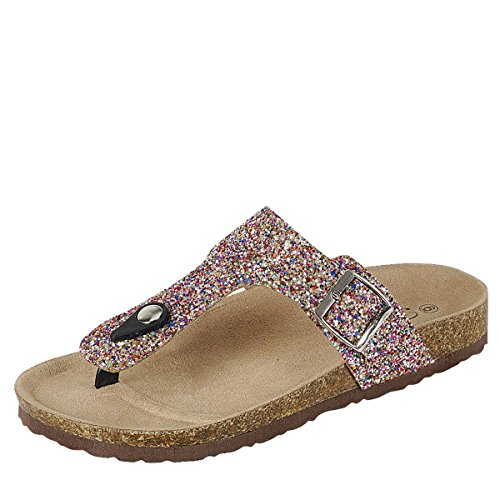 Forever Link Womens Birken 17 Sandal Shoes Multi Glitter 7.5