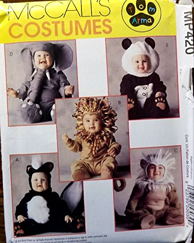 McCalls Costumes Tom Arma Toddler sz 3 Elephant, Panda, Lion, Skunk, Costumd MP420