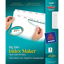 Avery Big Tab Index Maker Clear Label Dividers for Laser and Inkjet Printers, 5 tabs, White, 1 Set, (11490)