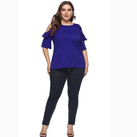 LRWEY Camisetas para Mujer, Camisa de Mujer de Talla Grande con ...