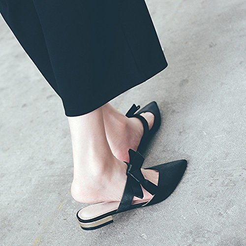 D'Été Pointu Plates Chaussures Romaine Muler Noir 38 DHG Chaussures Pantoufle Usure Arc Baotou Fée qaxcXRH