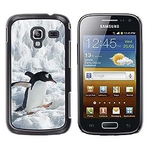TopCaseStore / la caja del caucho duro de la cubierta de protección de la piel - Penguin Ice Snow Antarctic Jump Bird White - Samsung Galaxy Ace 2 I8160 Ace II X S7560M