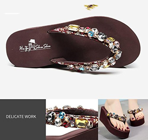 Flip-flops, fashion high-heeled slippers, female beach shoes, wearing a wedge with wild slip-on slippers Flat Sandals,Fashion sandals (Color : C, Size : 37) B