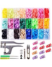Gudotra Snap Button Kit of 400 Pcs Plastic Snap Fastener with Snap Plier for Clothing Sewing Crafting Storage Box Included 24 Colors