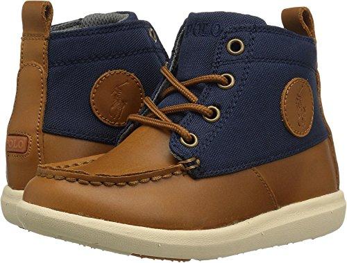 Polo Ralph Lauren Kids Boys' Ranger Sport Fashion Boot, Tan Burnished Leather Navy Nylon, 5 Medium US ()