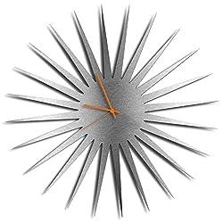 Silver Decor 'MCM Starburst Silver Clock' | Brushed Metal Kitchen Wall Clocks, Silent Non-Ticking Movement (Orange Hands)
