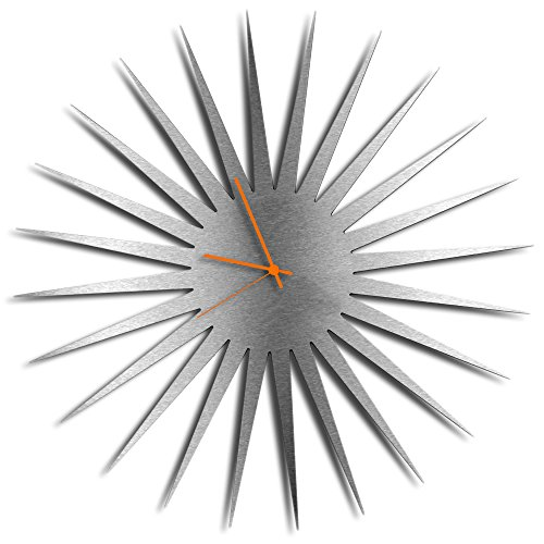 Silver Decor 'MCM Starburst Silver Clock' | Brushed Metal Kitchen Wall Clocks, Silent Non-Ticking Movement (Orange Hands)