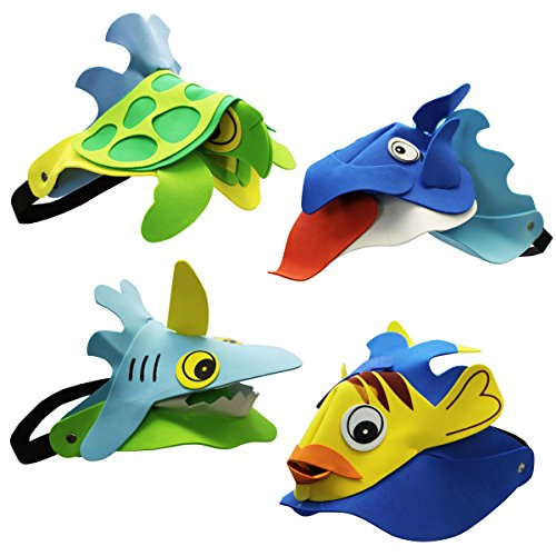 ~ 4 ~ Sea / Ocean Animal Visors ~ Foam ~ New ~ Dolphin, Turtle, Shark, Fish (Animal Visor Hat)