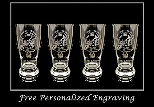 Scottish Beer (Clan Campbell Scottish Crest Pint Glass Set of 4- Free Personalized Engraving, Family Crest, Pub Glass, Beer Glass, Custom Beer Glass)