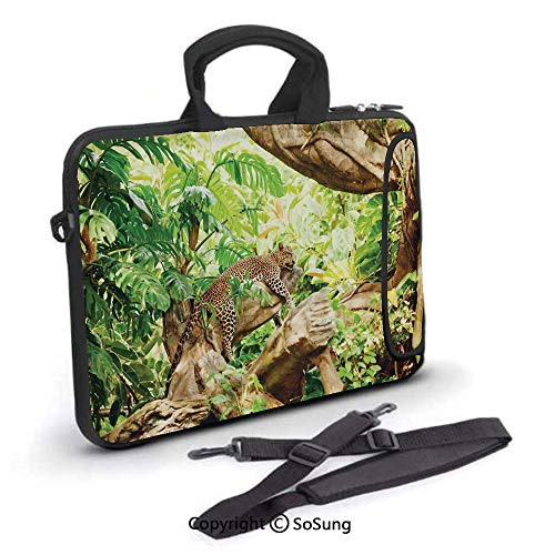 15 inch Laptop Case,Leopard on the Branch in Savanna Exotic Macro Tropical Leaf Jungle Wild Nature Art Photo Neoprene Laptop Shoulder Bag Sleeve Case with Handle and Carrying & External Side Pocket,fo