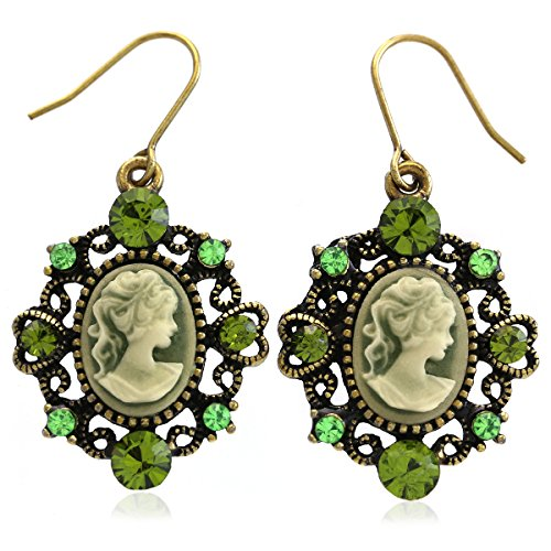 Heart Shape Frame Dark Green Cameo Dangle Earrings Fashion Jewelry (Shape Earring Heart Cameo)