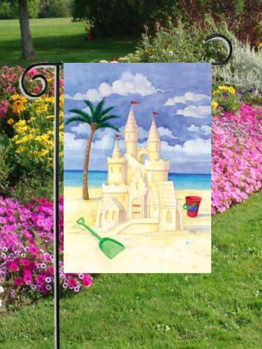 Castillo de arena playa Escena Ocean GF de bandera de jardín, diseño de palmera: Amazon.es: Jardín