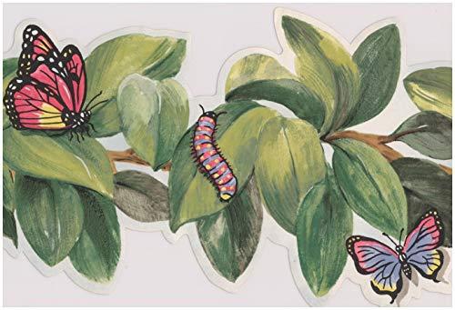 (Bee Butterfly Ladybug Dragonfly Caterpillar on Leaves on Vine Wallpaper Border Retro Design, Roll 15' x 6'')