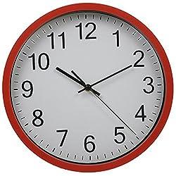 Harryup 12 Silent Non-Ticking Wall Clock Easy to Read Modern Quartz Design Clock (Red)