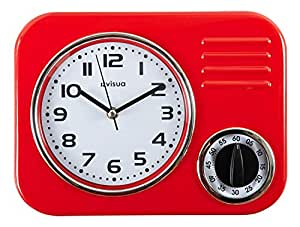 KIRA Metal Retro Kitchen Clock with Mechanical Timer (Red)