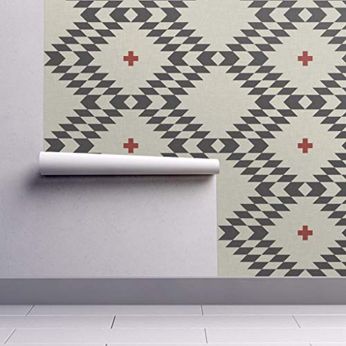 Peel-and-Stick Removable Wallpaper - Geometric Holli Zollinger Native Plus Orange Tribal by Holli Zollinger - 24in x 144in Woven Textured Peel-and-Stick Removable Wallpaper ()