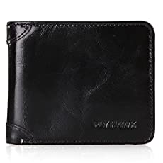 FlyHawk RFID Blocking Top Italian Genuine Leather Wallets for Men, Slim and Thin Biford Wallets Purses, Classic Horizontal Version Wallets