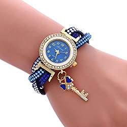 COOKI Womens Bracelet Watches Clearance Ladies Watches Female Watches on Sale Cheap Leather Watches-Q7 (Blue)