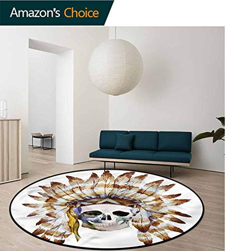 RUGSMAT Skull Computer Chair Floor Mat,Native American Motif Pattern Design Non-Slip Fabric Round Rugs for Living Room Diameter-35