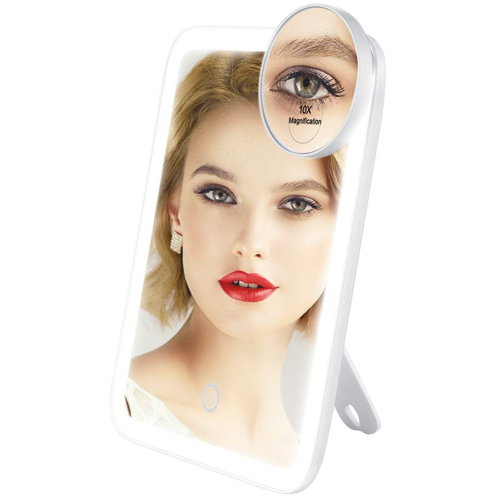 Lavany Makeup Vanity Mirror with 37 LED Lights, Ultra Bright 1100 Lumens Cosmetic Mirror with 10x Magnification, 180° Adjustable Rotation, CRI 88, Dimmable, Battery or USB Powered