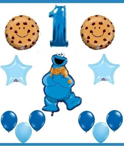 SESAME STREET COOKIE MONSTER first birthday party supplies balloons one 1st by Lgp ()