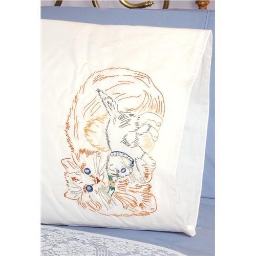 Stamped Perle Edge Pillowcases 30x20 2/Pkg-Cat & Kitten - Cat Needlepoint Pillow