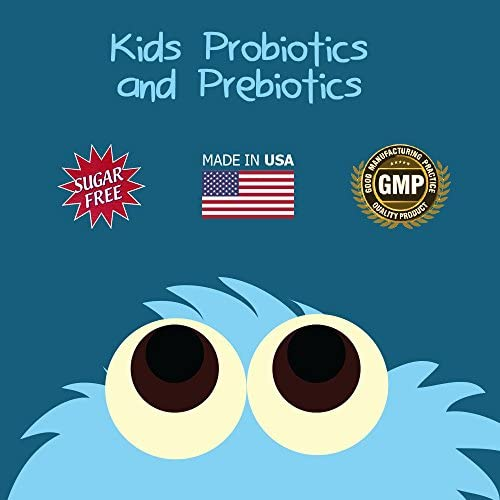 6 Billion CFU Kids / Children's Probiotics With Prebiotics, Sunfiber And Fos, For 10x More Effectiveness. One A Day Great Taste Chewable Probiotic, 2 Months Supply Per Bottle