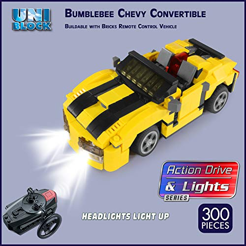 Unitech Toys Building Brick Remote Control Bumblebee Chevy Convertible with Headlights That Light up, 300 pc, Compatible with Major Brands