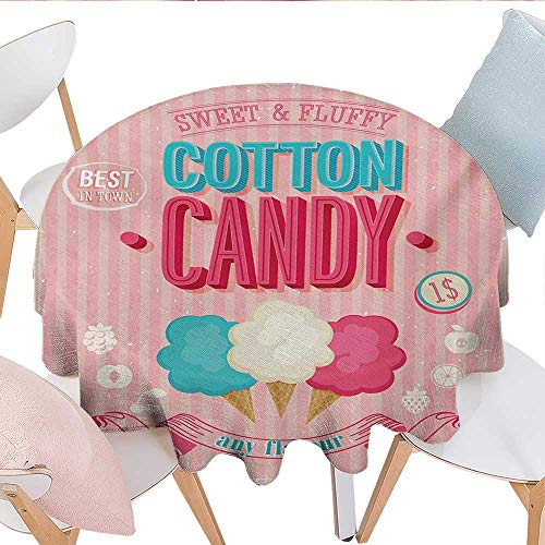Vintage, Tablecloth for Kitchen Dining Tabletop, Cotton Candy Advertising Poster Design Aged Look Sweet and Fluffy Tasty Flavors, Dinning Tabletop Decoration, (Round, 60 Inch, Multicolor)