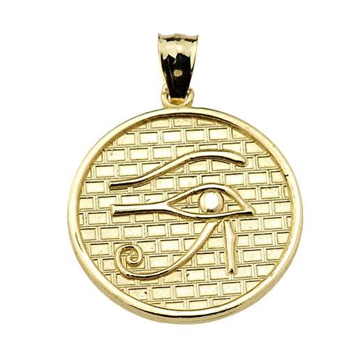 Egyptian Ankh Crosses Eye of Horus (13 Steps) 10k Yellow Gold Round Charm Pendant Necklace