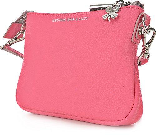 GEORGE GINA & LUCY, Damen Handtaschen, Umhängetaschen, Crossover-Bags, Crossbodys, Leder, Pink, 15 x 11,5 x 2,5 cm (B x H x T)