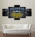 [LARGE] Premium Quality Canvas Printed Wall Art Poster 5 Pieces / 5 Pannel Wall Decor New York Baseball Stadium Painting, Home Decor Pictures - With Wooden Frame