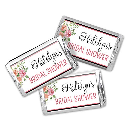 Personalized Floral Themed Mini Candy Bar Wrappers - Set of 36 Bridal Shower Party Favor Stickers - Candy Wrapper Shower Bridal