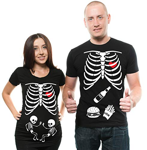 Silk Road Tees Twins Maternity Couple Matching T-Shirt Halloween Skeleton Costume Dad Maternity Mom Pregnancy Men XXL - Women XXL]()