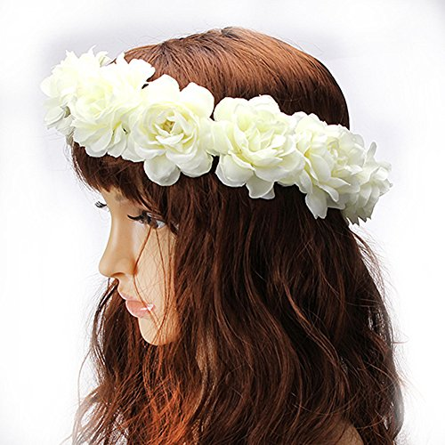 Handmade Women Girl Rose Floral Wreath Crown for Wedding Festivals (Ivory White-A)