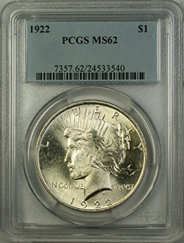 1922 Peace Silver Dollar Coin (ABR12-L) $1 MS-62 PCGS