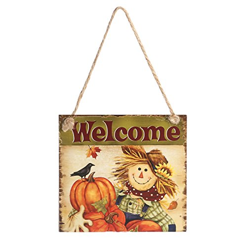Tinksky Thanksgiving Wooden Hanging Plaque Sign Thanksgiving Door Hanger Wall Decorations Christmas Wedding Home Decoration (Welcome)