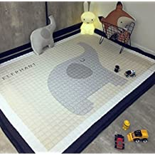 Baby Crawling Mat, Cute Elephant Children Play Mat Non-slip Washable Cotton Play Mat for Nursery Room/Playroom