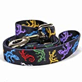 Yellow Dog Design Geckos Black Dog Leash 3/8'' Wide and 5' (60'') Long, X-Large