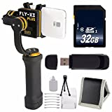 ikan FLY-X3-Plus 3-Axis Smartphone Gimbal Stabilizer with GoPro Mount + 32GB SDHC Class 10 Memory Card + SD Card USB Reader + Memory Card Wallet + Deluxe Starter Kit Bundle