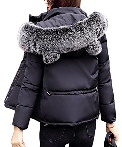 EKU Women Quilted Paddeds Faux Fur Hood Warm Slim Fit Down Coat Jacket Black