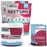 PureClean Powder - USA Organic Beet Jar (300G) + 15 Packets - No Fillers, Sweeteners or Additives. Blood Pressure Support. PLUS Beet'Ums - 2 Pack, Beet Infused Chocolate Pomegranate Performance Chews.