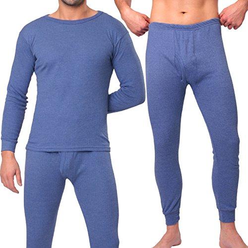 MT® THERMO LIGHT Herren Thermowäsche Set (Hemd + Hose) Blau-L