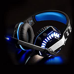RedHoney XBOX S Gaming Headset GM2 3.5mm Stereo LED Headphone with Microphone and Y Splitter for PS4 Xbox One PC Laptop Smartphone Tablet (GM-2 Black+Blue) from redhoney