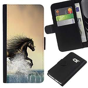 Samsung Galaxy S6 EDGE SM-G925 , la tarjeta de Crédito Slots PU Funda de cuero Monedero caso cubierta de piel ( Horse Wild Free Brown Running Water)