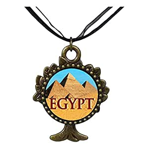 Chicforest Bronze Retro Style Travel Egypt pyramids The Tree Of Life And Wishing Pendant