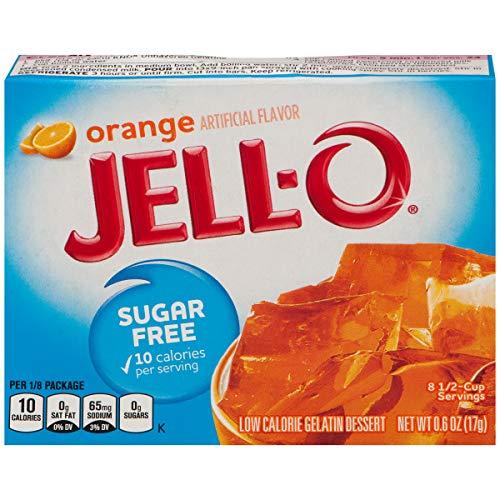 Jell-O Sugar-Free Orange Gelatin Dessert Mix, 0.6 oz Box