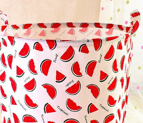 HUNRUNG Large Canvas Fabric Lightweight Storage Basket/Toy Organizer/Dirty clothes Collapsible Waterproof for College Dorms, Kids Bedroom,Bathroom,Laundry Hamper (watermelon) by HUNRUNG (Image #4)
