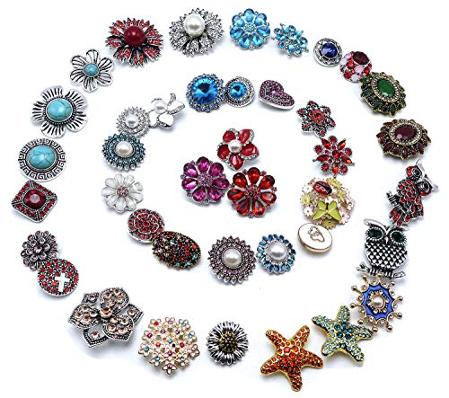 Ladieshow Snap Button Charms Jewelry 18mm-20mm Mix Shiny Blue Red Multicolored Rhinestone Diamonds Alloy snap Button (Pack of 40 pcs) ()